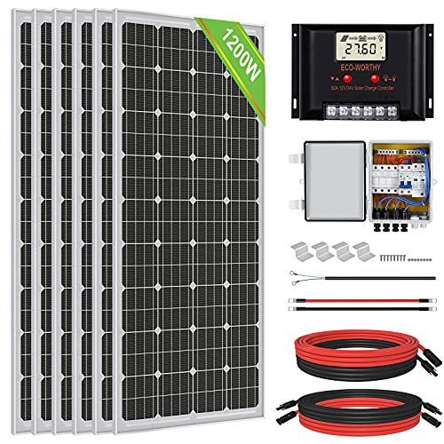 ECO-WORTHY 1000 Watt 1KW 24 Volt Solar Panel Off Grid RV Boat Kit with 60A PWM Charge Controller and Solar Combiner Box