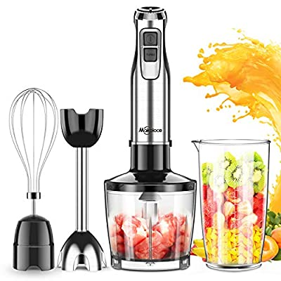 Immersion Hand Blender, Makoloce 800W 4-in-1 12-Speed Stick Blender with 500ml Food Grinder, 600ml Container,Egg Whisk for Puree Infant Food, Smoothies, Sauces and Soups