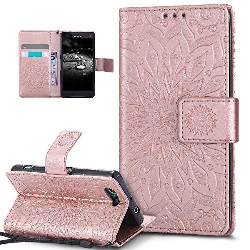 Kompatibel mit Schutzhülle Sony Xperia Z3 Compact Hülle Handyhülle,Prägung Mandala Blumen Sonnenblume PU Lederhülle Flip Hülle Cover Schale Ständer Etui Wallet Tasche Hülle Schutzhülle,Rose Gold