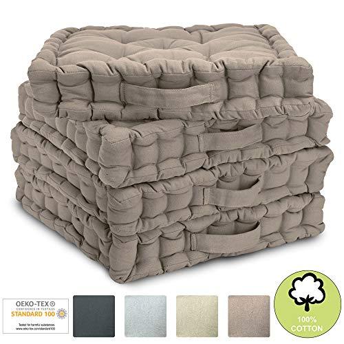 Beautissu Set di 4 Cuscini da Pavimento/Sedia Mila 40x40x8 cm Cuscino di Seduta per Interno ed Esterno con Maniglia in Marrone Talpa - Imbottitura Spessa - 100% Cotone