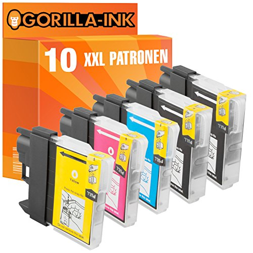 Gorilla-Ink 10 Patronen XXL kompatibel mit Brother LC-985 LC985 | Für Brother DCP-J 125 DCP-J 140 W DCP-J 315 W DCP-515 W MFC-J 220 MFC-J 265 W MFC-J 410 MFC-J 415 W