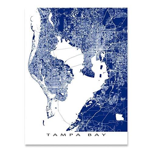 Tampa Bay Map Art Print, Florida, FL, St Petersburg, Clearwater