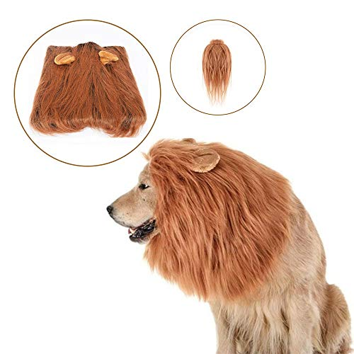 MR.FOAM Lion Mane Dog Costume,Dog Lion Mane Costume Pet Halloween Pet Costumes Wig Clothes for Halloween Party Lions Mane Dog Costume for Medium to Large Sized Dogs Pet Halloween Costumes