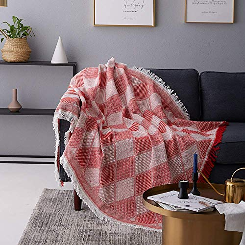 H-CAR Toalla de sofá a Cuadros Manta de Tiro multifunción Funda de sillón Decorativa Manta de Cama Tapiz Funda de sofá, Rojo, 230 * 275cm