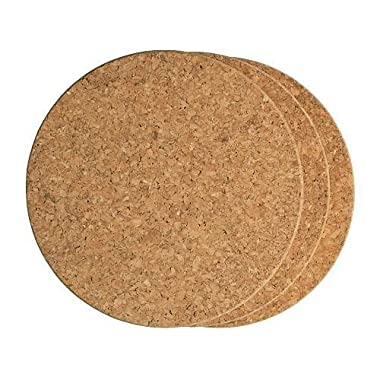 LOHOME Cork Hot Pads, Pack of 3 PCS Round Cork Trivet Heat Resistant Hot Pads Table Cup Mat Coaster (15 cm/5.9 Inch)
