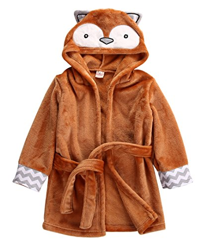 Baby-Bademantel für Jungen und Mädchen, mit Kapuze, Badetuch Gr. 120 cm(3-4 Jahre), Fuchs orange