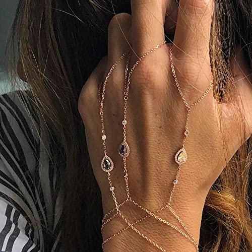 XKMY Cadena de mano con anillo de oro rosa rosa esclavo pulsera conectada dedo palma zirconia Handlets joyería capas AAA chispas cz pulseras para mujeres