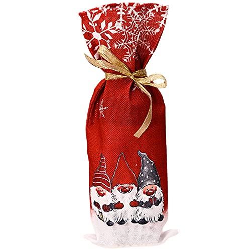 Bolsas de regalo de vino con cordón reutilizables cubiertas de botellas bolsas para Navidad, boda, fiesta, mesa, cena, decoración del hogar