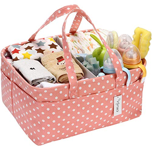 Hinwo Baby Windel Caddy 3-Compartment Infant Nursery Tote Aufbewahrungsbehälter Tragbare Organizer Neugeborenen Dusche Geschenkkorb mit abnehmbarem Teiler 13 unsichtbaren Taschen für Windeln
