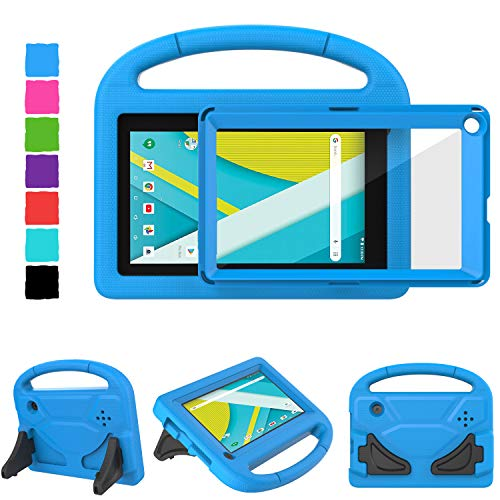 TIRIN RCA Voyager 7 Case, Kids Case for 7 Inch RCA III RCT6973W43 & II (2016/2017) Case with Built-in Screen Protector Light Weight Shockproof Stand Kids Case for RCA Voyager Pro 7 & I - Blue