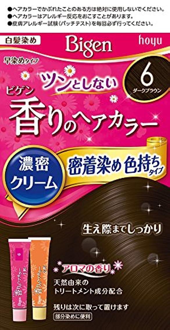 徒歩で文言わかるホーユー ビゲン香りのヘアカラークリーム6 (ダークブラウン) 1剤40g+2剤40g [医薬部外品]