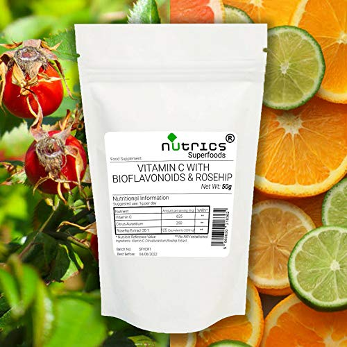 Nutrics Vitamin C Rosehip Extract Citrus Bioflavanoids Blend 50g Pure Powder