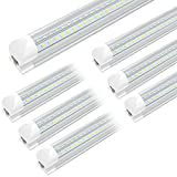 4FT LED Shop Light - 40W 5200Lm 6500K (Super Bright White), Integrated Fixture, V Shape,T8 Light Tube, Clear Cover, Hight Output, Strip Lights Bulb for Garage Warehouse Workshop Basement (6 Pack)