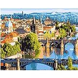 N / A Pintura Digital Bricolaje Temprano en la mañana en Praga Arquitectura Junto al río Paisaje Paisaje Dibujo Sala de Estar Acrílico Decoración de Lino Arte-Sin Marco,16 * 20inch