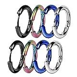 ZHIYAOR Hypoallergenic Titanium Steel Loop Earrings Set for Men Women Huggie Hoop Cartilage Piercing 18G (A:Mixed 4Pairs, 12)
