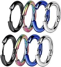 ZHIYAOR Hypoallergenic Titanium Steel Loop Earrings Set for Men Women Huggie Hoop Cartilage Piercing 18G (A:Mixed 4Pairs, 10)