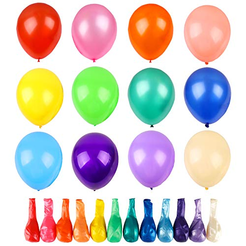 120 Assorted Color Balloons 12 Inches 12 Kinds of Rainbow Party Latex Balloons, Latex Balloons for Party Decoration, Birthday Party Supplies or Arch Decoration