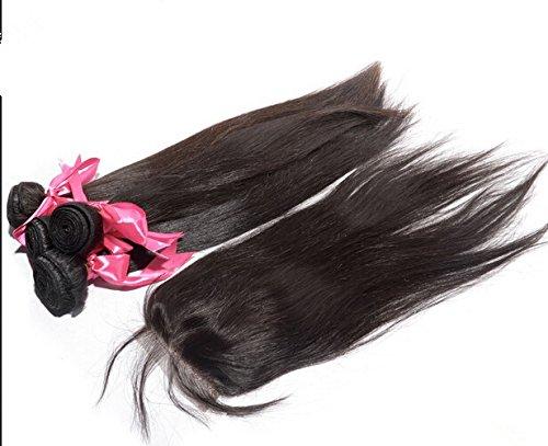 "Cheap 8A Free Part Lace Closure With Bundles Straight European Virgin Hair Bundle Deals 3Bundles And Closure Natural Color 18""closure+20""22""22""weft"