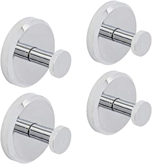 HOME SO Suction Cup Hooks for Shower, Bathroom, Kitchen, Glass Door, Mirror, Tile – Loofah, Towel, Coat, Bath Robe Hook Holder for Hanging up to 15 lbs – Rustproof Chrome ABS Plastic (4-Pack)