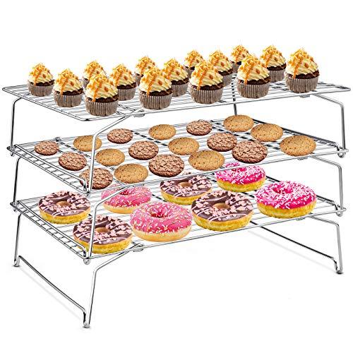 HaWare Abkühlgitter, Edelstahl 3-töckiges Kühlgitter Auskühlgitter zum Backen Braten Grillen von Kekse Kuchen Brot Torte, Faltbar & Stapelbar, Ofen- & Spülmaschinenfest - 38x26cm
