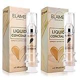 2Pcs Waterproof Full Coverage Concealer, Foundation Makeup Base Face Moisturizing Liquid Cover Concealer Long-Lasting(Natural+Lvory)