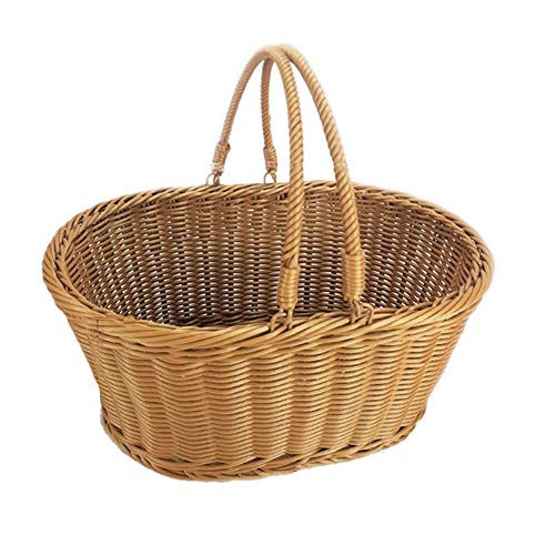 Fablcrew Rattan Wicker Picnic Basket, Wicker Shopping Basket, Wicker Storage Basket with Handle for Picnic Basket Fruit Flowers and Vegetables