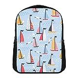 Mochila de veleros y gaviotas pintadas a mano para niños y niñas resistente al agua mochila preescolar ligera Bookbags camping viaje escuela bolsa de hombro