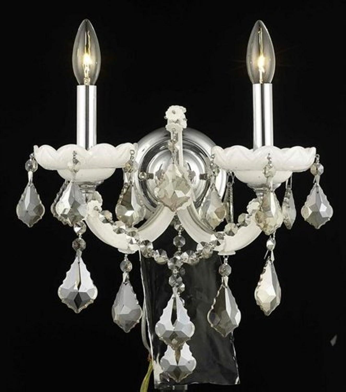 エレガントな照明Maria Theresaコレクション2-light壁取り付け用燭台withスワロフスキーストラス/ Elements Goldenチーク材、ホワイト仕上げ