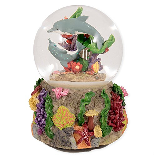 Elanze Designs Dolphins Playing in The Reef Glass Musical Snow Globe Plays Song by The Beautiful Sea