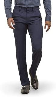 Men's 4-Way Stretch Solid Gab Slim Fit Flat Front Dress Pant