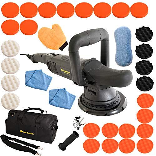 Poliermaschine Exzenter 810 Watt mit 15mm Hub und 6m Kabel inklusive Tasche und Polierschwamm Excenter Schleifmaschine Auto Polierer mit digitalen Display (Set XXL)
