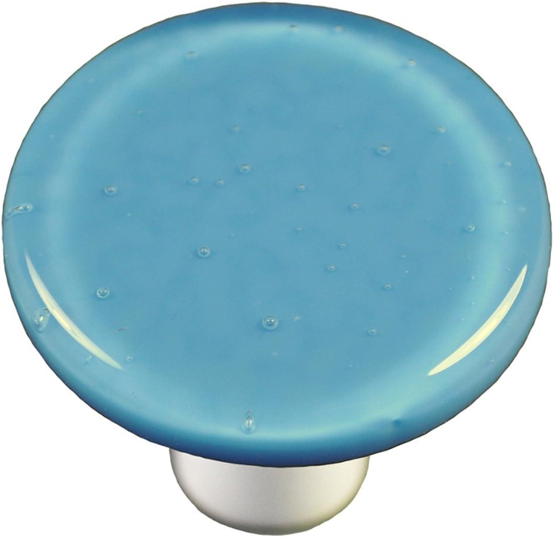 Hot Knobs HK1029-KRA Egyptian bluee Round Glass Cabinet Knob - Aluminum Post