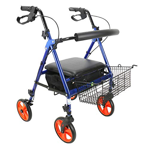 SISHUINIANHUA Faltbarer Walker-Antrieb medizinischer Aluminiumlegierungs-Vierrad-Rollator, Feststellbremsen, justierbare Griff-Höhe, aufgefüllter Sitz