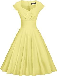 فستان سوينغ للحفلات مرن بقصة واسعة بكسرات بتصميم كلاسيكي مستوحى من الخمسينيات للنساء من جاون تاون