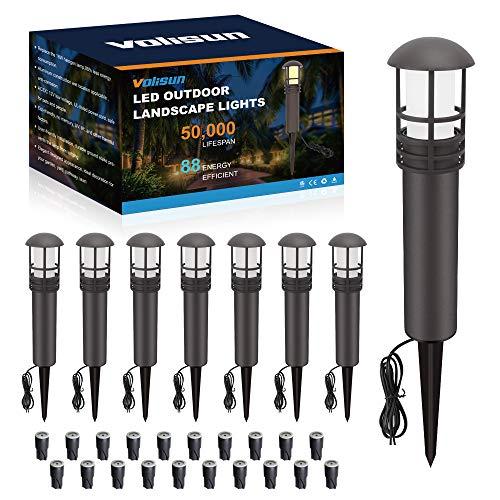 VOLISUN 8-Pack Outdoor LED Landscape Lighting,3W 12V Low Voltage Pathway Lights,Outdoor Waterproof Garden Lights, Aluminum Housing ETL Listed,CRI 90+,3000K Warm White for Driveway Sidewalk