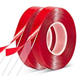 Double Sided Tape 2 Pack Heavy Duty - 3/4'10' Acrylic Clear Strong Adhesive Waterproof Removable Double Sided Mounting Tape for Carpet Fix, Home Office Wall Decor, DIY Crafts, Car Glass Decor
