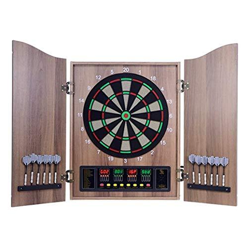 Diana electrónica de doble puerta de madera, juego de dardos con pantalla LED y 12 dardos blandos, 27 objetivos principales (color: marrón madera grain)