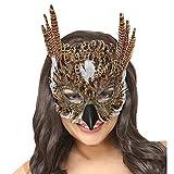 NET TOYS Eulen-Maske mit Federn | Braun | Originelle Unisex-Maske Tiermaske Uhu geeignet für...