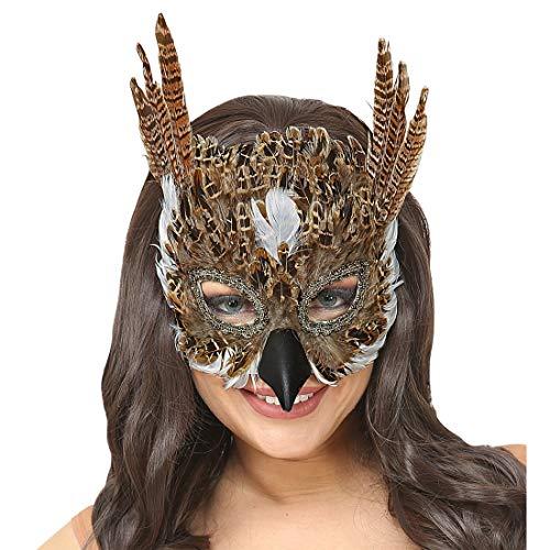 NET TOYS Eulen-Maske mit Federn | Braun | Originelle Unisex-Maske Tiermaske Uhu geeignet für Straßenkarneval & Mottoparty