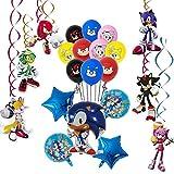 REYOK Sonic The Hedgehog Globos Decoración de Fiesta, remolinos Colgantes Suministros de decoración Fiesta temática Decoracion Globos de Latex Cumpleaños Decorations Garland Set para Niños