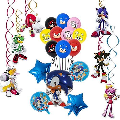 Sonic The Hedgehog Globos Decoración de fiesta, remolinos colgantes suministros de decoración Fiesta temática Decoracion Globos de latex Cumpleaños Decorations Garland Set para Niños