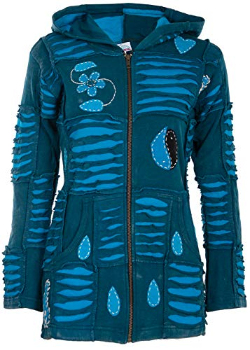 Damen Jacke Winterjacke Hippie Jacke Im Patchwork Goa Boho Style - 2XL Wolljacke mit Patches Warmes Fleece Innenfutter
