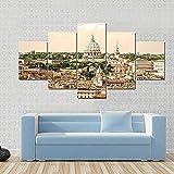 NNNLX Cuadro sobre Lienzo - 5 Piezas - Vista de la basílica de San Pedro Roma Italia - Impresión En Lienzo - Impresión Pinturas Murales Decor Dibujo con Marco para Aniversario