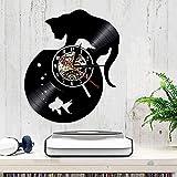 XYLLYT Acuario Gato Art Deco Vinilo Disco Reloj de Pared Retro Vinilo Gatito Reloj Mascota Mural habitación de los niños