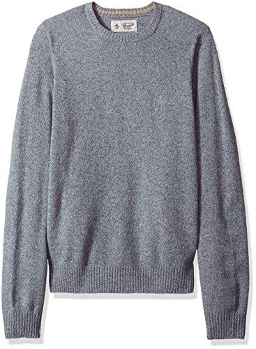 Original Penguin Men's Solid Lambswool Crew Sweater, Faded Denim, Small