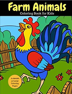 Farm Animals Coloring Book for Kids: 2x Images for Double Fun, 50 Large Coloring Pages (Larger than Most!) (Farm Animal Coloring Books) (Volume 10)