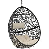 Sunnydaze Caroline Hanging Egg Chair Swing, Resin Wicker Modern Design, Outdoor Use, Includes Beige Cushions