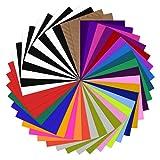 YRYM HT Plotterfolie Textil - 42 Pack Flexfolie 30.5cm x 25.4cm Enthält 40 Pack Assorted Colors Flexfolie Plotter Textil und 2 Pack Teflon für DIY T-Shirts & Stoffe