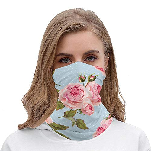 Yilooom Seamless Face Mask Bandanas, Unisex Face Scarf for Outdoor Dust Wind Sun Protection, Beautiful Romantic Flower Background