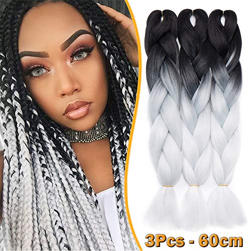 3 Stück Braids Kunsthaar Extensions 60cm Braiding Haarverlängerung Crochet Flechthaar Synthetische Haare 100g/Bündel Schwarz zu Weiß